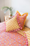 Small Pink and Yellow Cushion cover with Pink Tassels