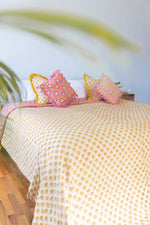 Single Size Bed Cover Pink and Yellow