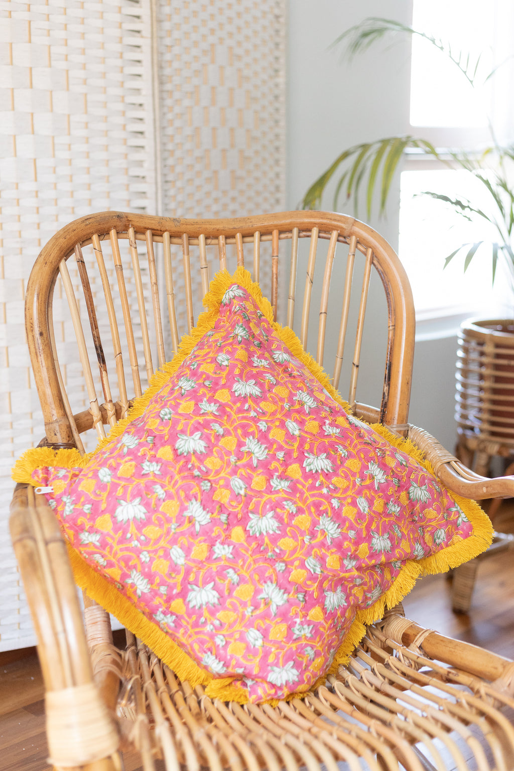 Large Pink and Yellow Cushion cover with Yellow Fringe