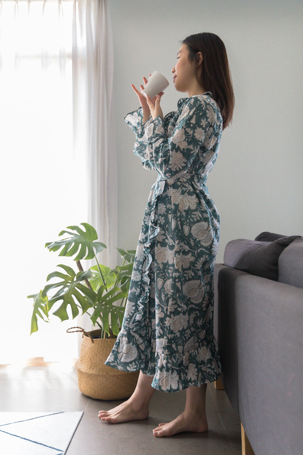 Home Frill Robe  Blue with white Geraniums