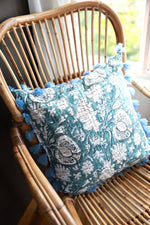 Large Blue Cushion cover with Blue Tassels