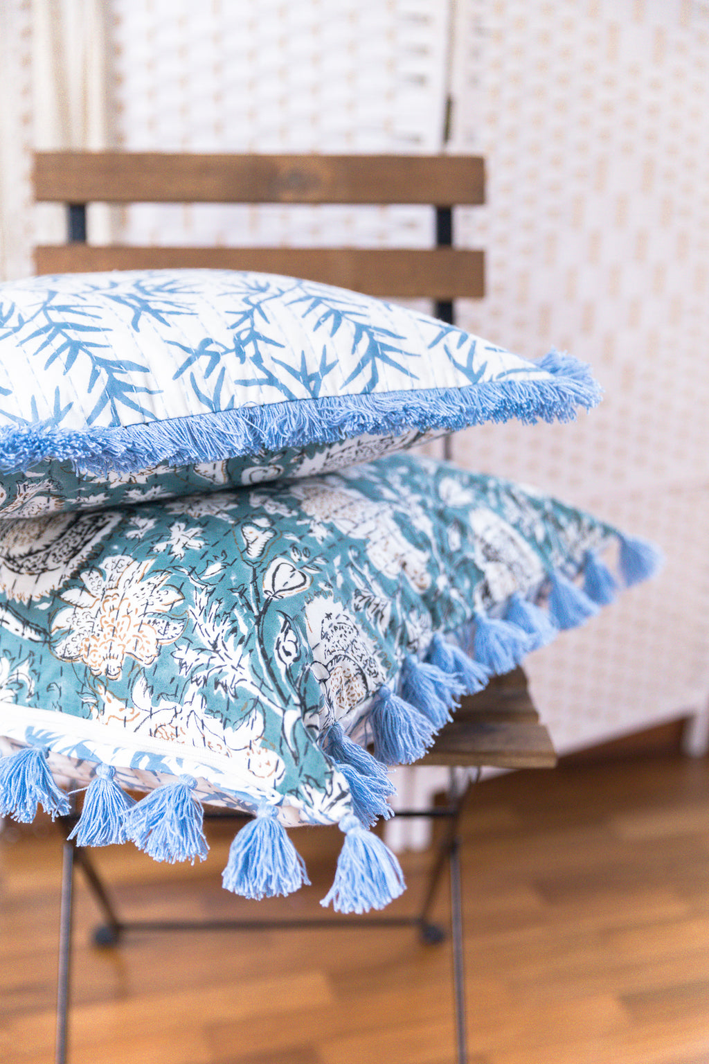 Small Blue Cushion cover with Blue Fringe