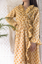 Home Frill Robe Cream & Yellow