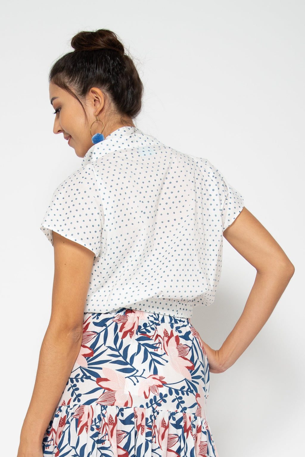 Lola Top Blue Polka Dots