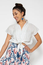 Baliza women´s Lola top in blue polka dots block print