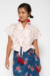 Baliza women´s Lola top in pink japanese fans block print
