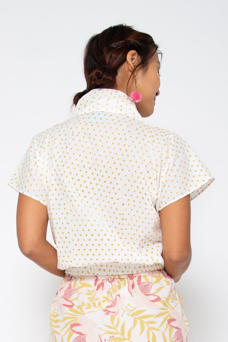 Lola Top Green Polka Dots
