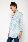Bambu Shirt Blue Japanese Fans