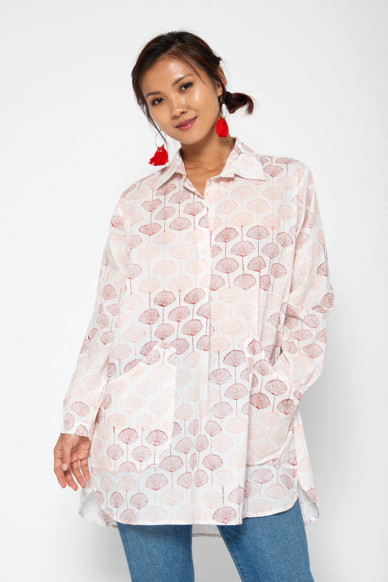 Baliza women´s Bambu shirt in pink Japanese fans block print