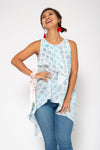 Baliza women´s Chantik top in blue Japanese fans block print