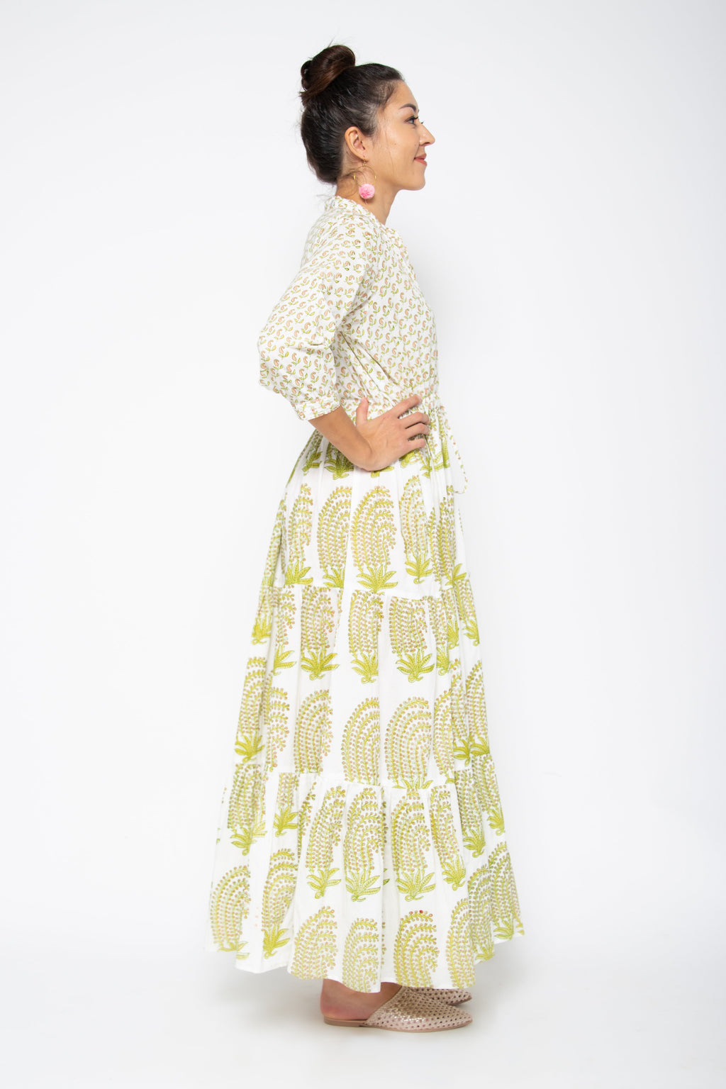 Island Maxi Dress Paisley Pink & Green