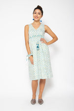 Baliza women´s Jade midi dress with pockets in blue and green block print