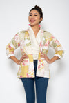 Baliza women´s Jade Patch jacket in mixed yellow and pink screen and block print