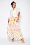 Baliza women´s Mambo skirt Yellow and Pink Lily screen print
