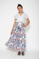 Baliza women´s Mambo skirt Blue and Pink Lily screen print