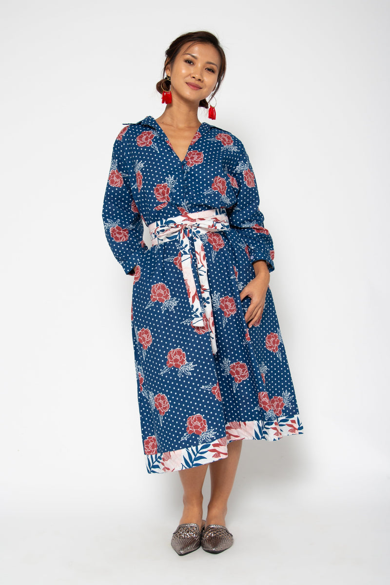 Baliza women´s Obi Shirt dress blue marigold screen print