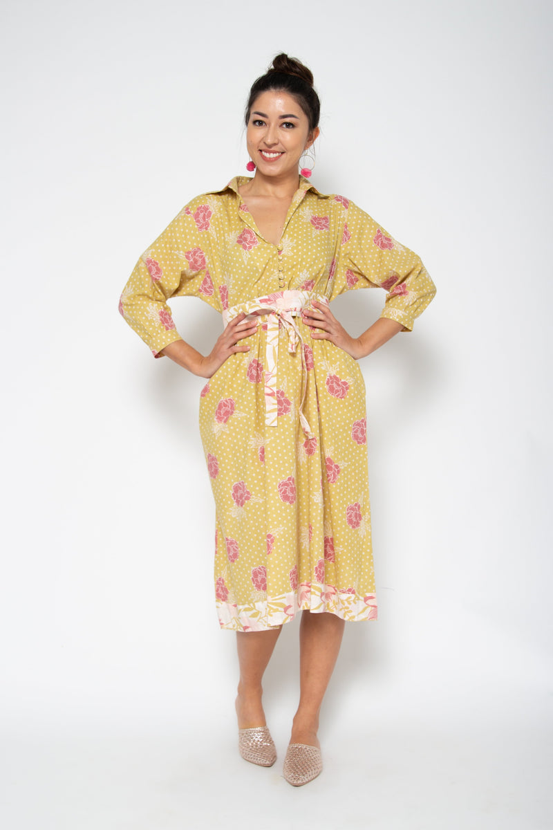 Baliza women´s Obi Shirt dress yellow marigold screen print