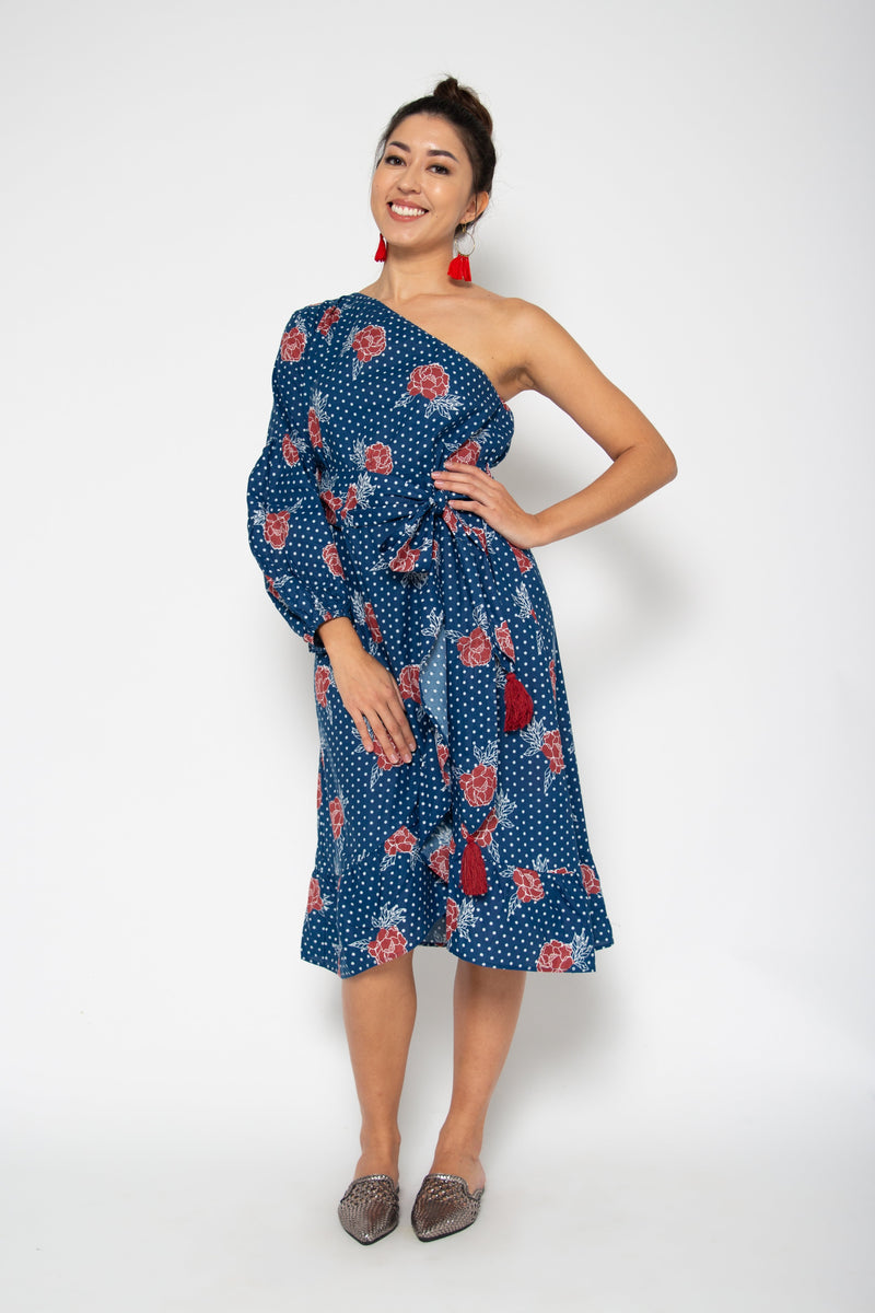 Peony One Shoulder Dress Blue Marigold