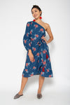 Baliza women´s Peony one shoulder dress Blue marigold screen print