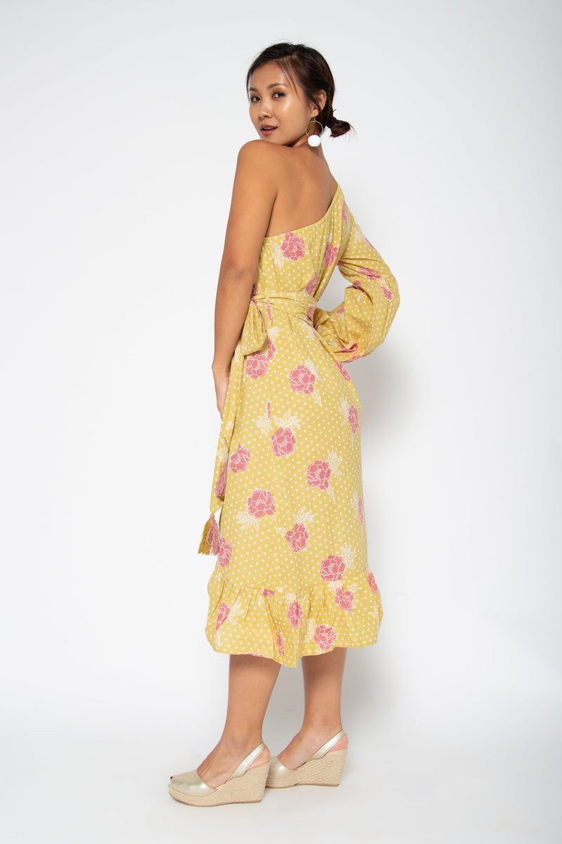 Peony One Shoulder Dress Yellow Marigold