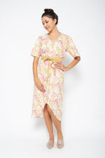 Baliza women´s Shakura dress in yellow and pink Lily screen print