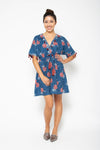 Baliza women´s Shell short dress with pockets in blue Marigold sceen print