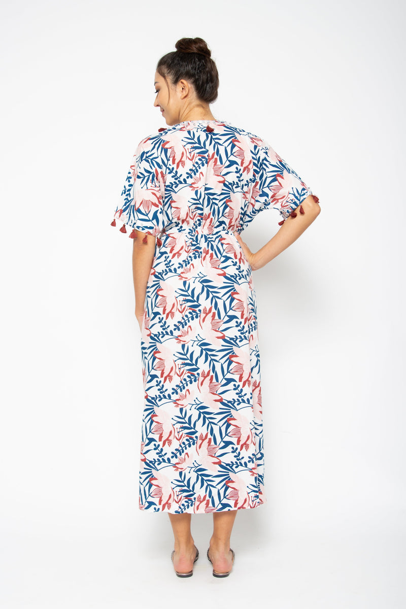 Shell Maxi Dress Blue Pink Lily