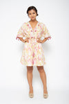 Baliza women´s Shell short dress with pockets in pink and green Marigold sceen print