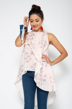 Baliza women´s Chantik top in pink Japanese fans block print