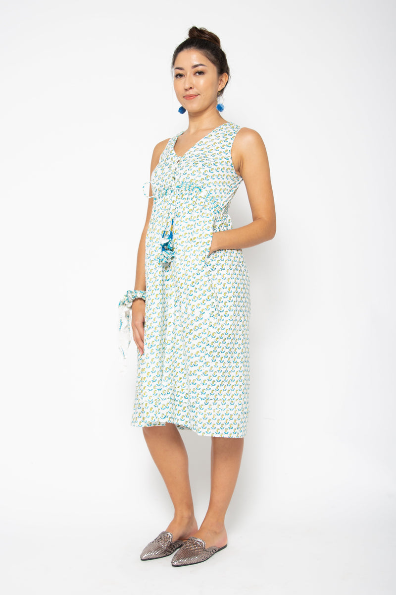 Jade Dress Blue and Green Paisley