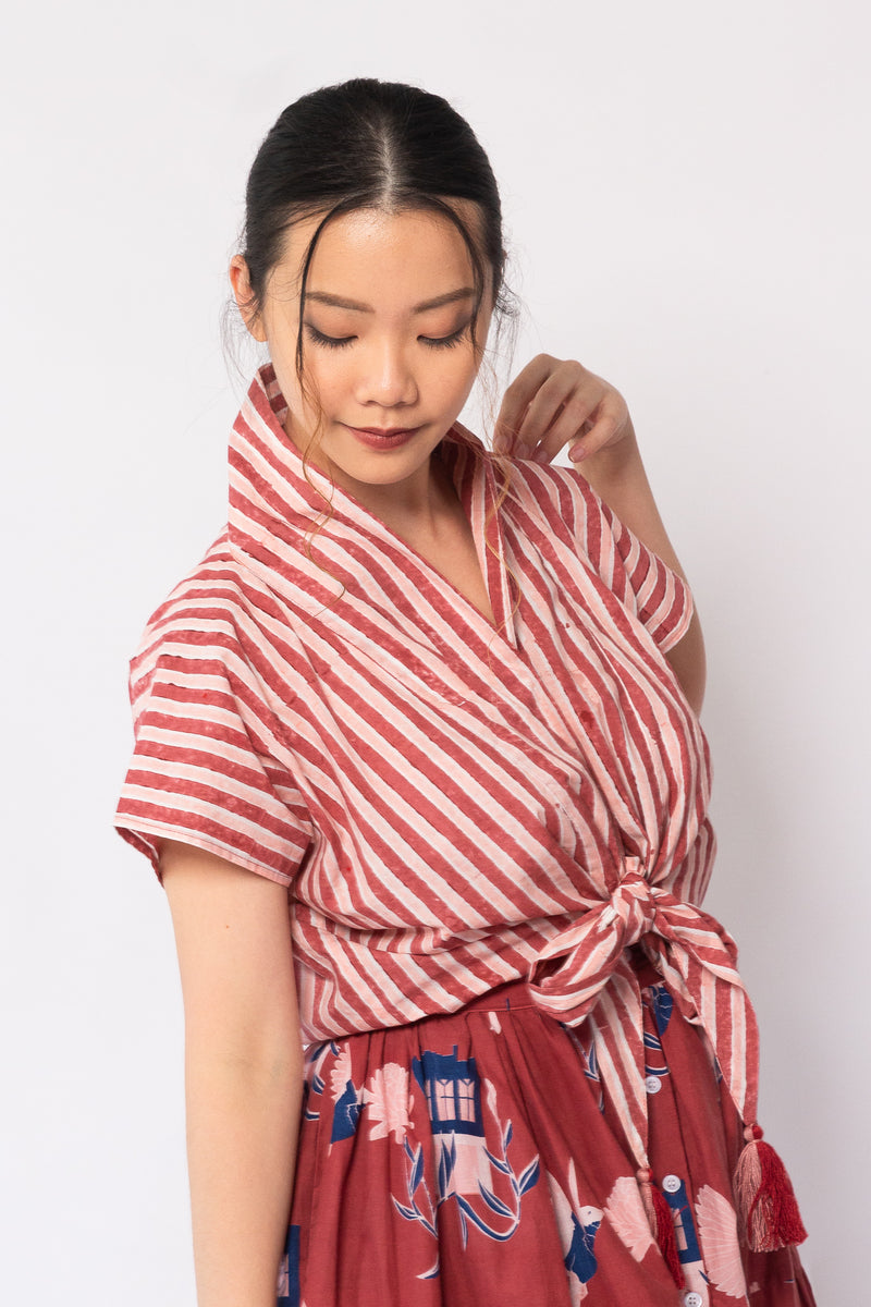 Lola Top Red and Pink Stripes