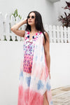 Baliza women´s Jaipur dress Blue and pink tie dye