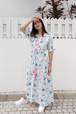 Baliza´s women Mikonos dress Blue Flowers