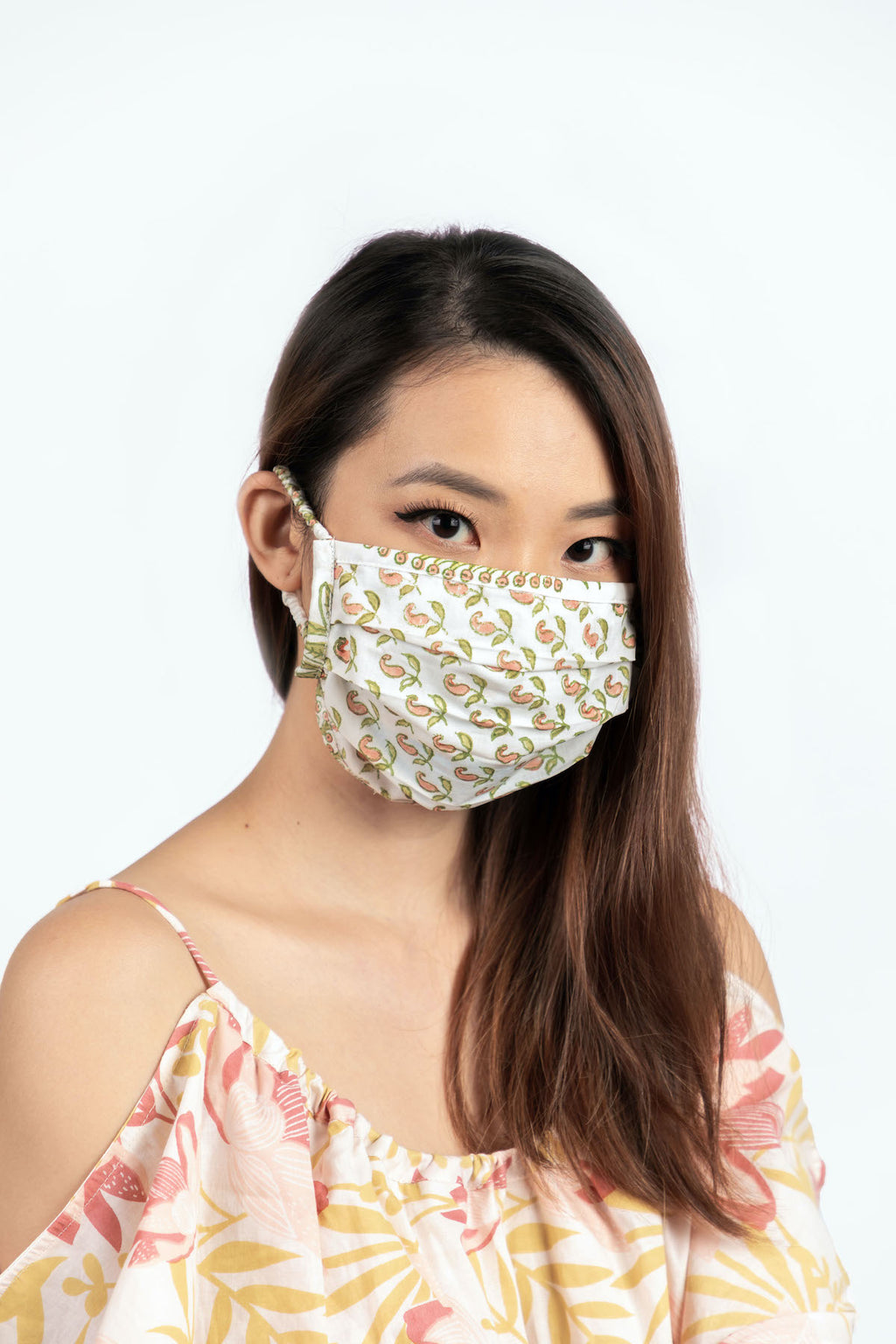 Mask in Pink and Green Paisley