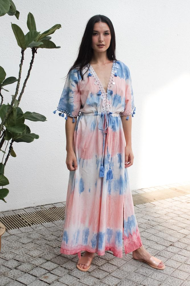 Baliza women´s Shell  maxi dress with pockets in pink and blue tie dye