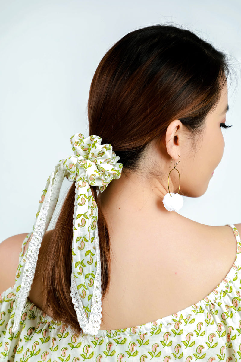 Scrunchie Pink and Green Paisley
