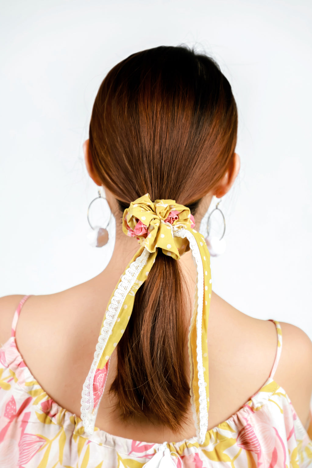 Scrunchie Yellow & Pink Marigold