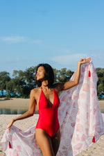 Red Hera One Piece + Shells Sarong