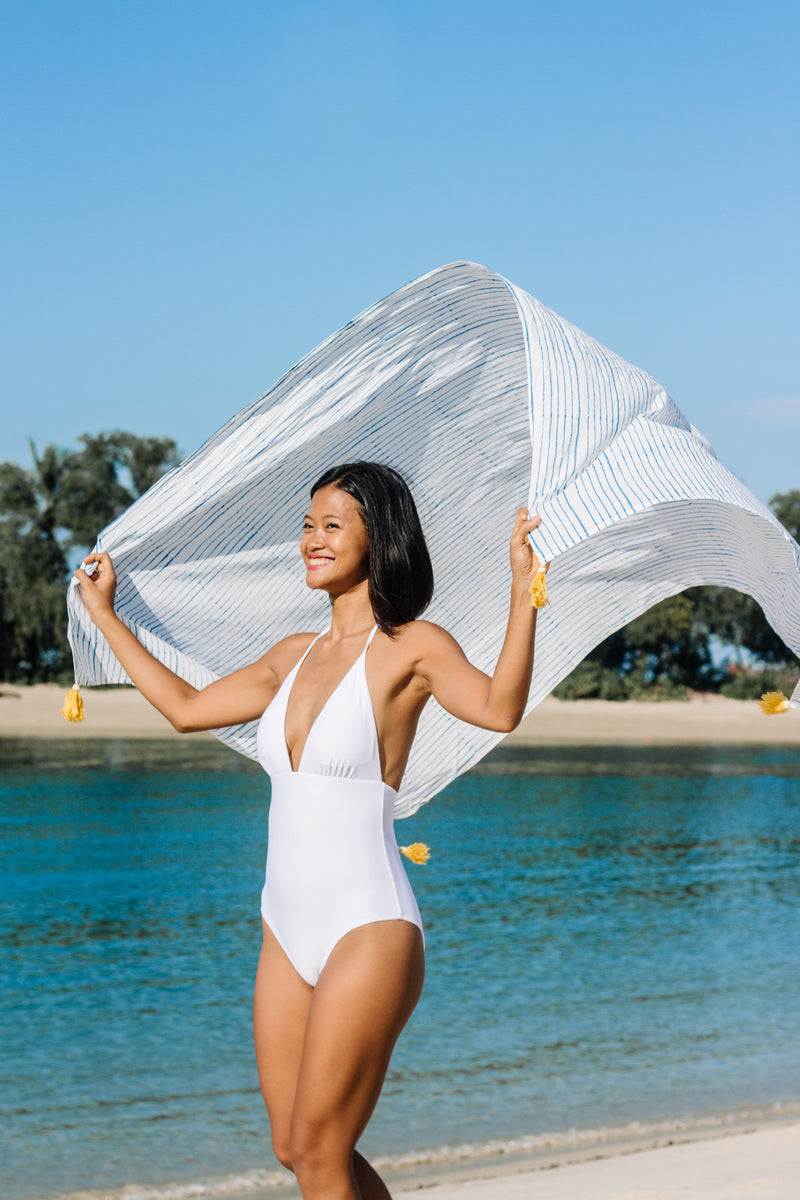 White Hera One Piece + Stripes Sarong