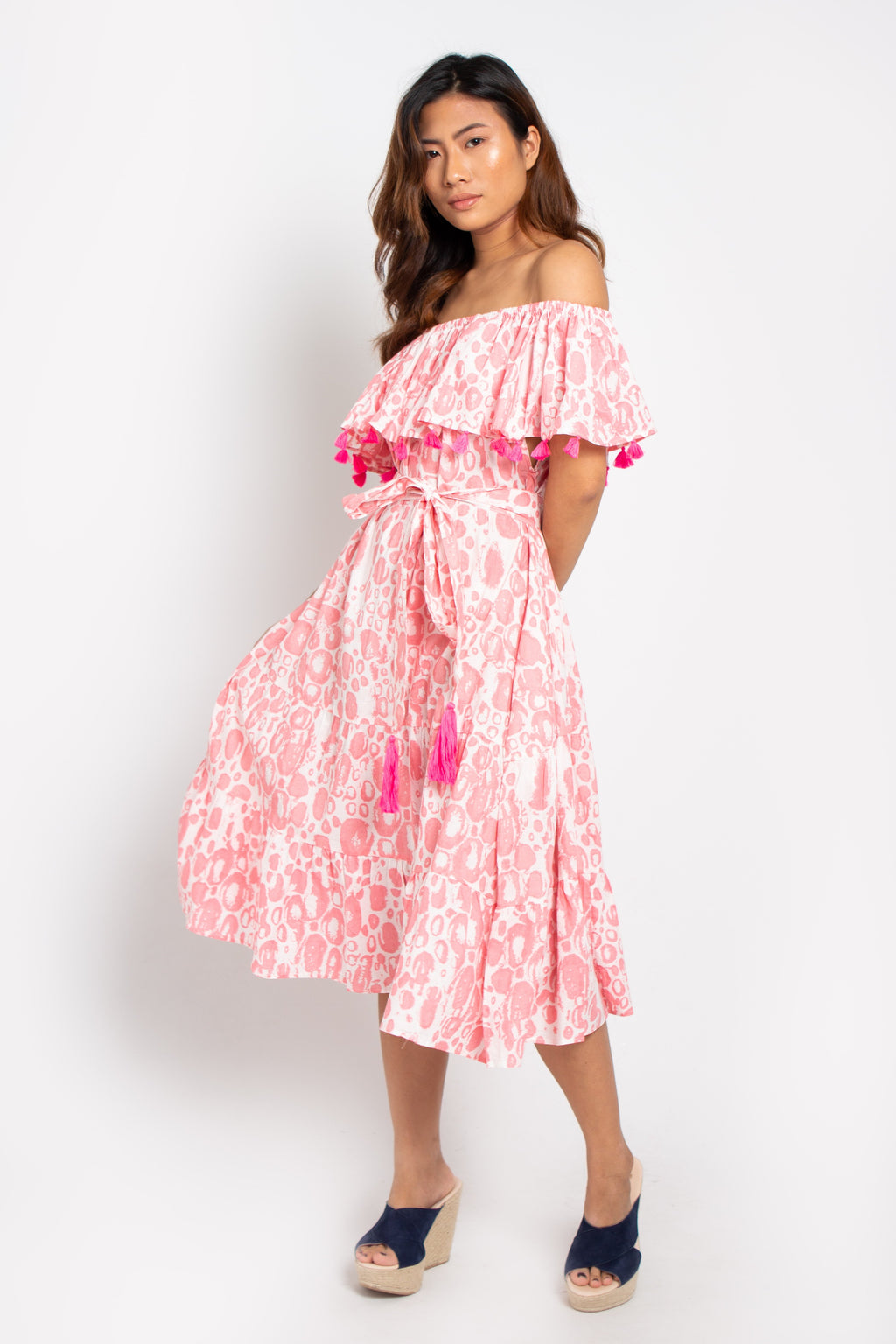 Baliza´s women Havana off shoulders dress pink bubbles