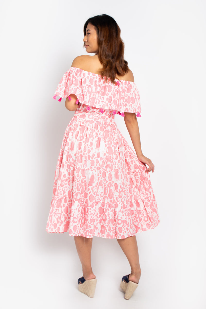 Havana Off Shoulders Dress Pink Bubbles