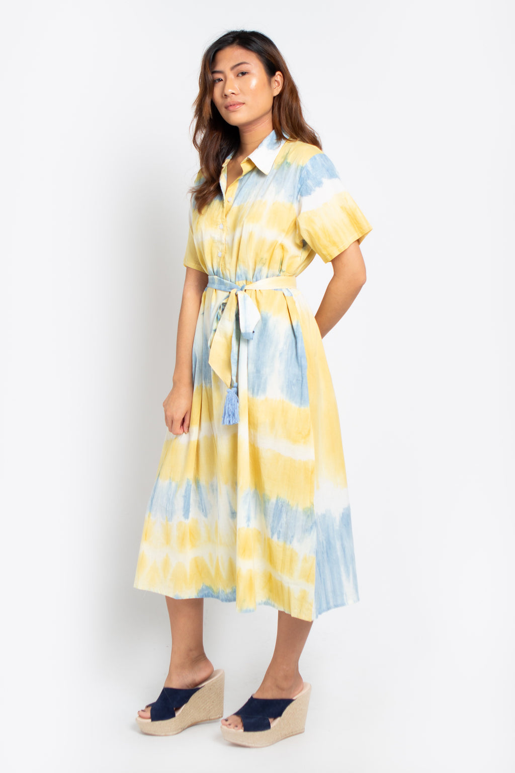 Palm Shirt Dress Blue and Yellow
