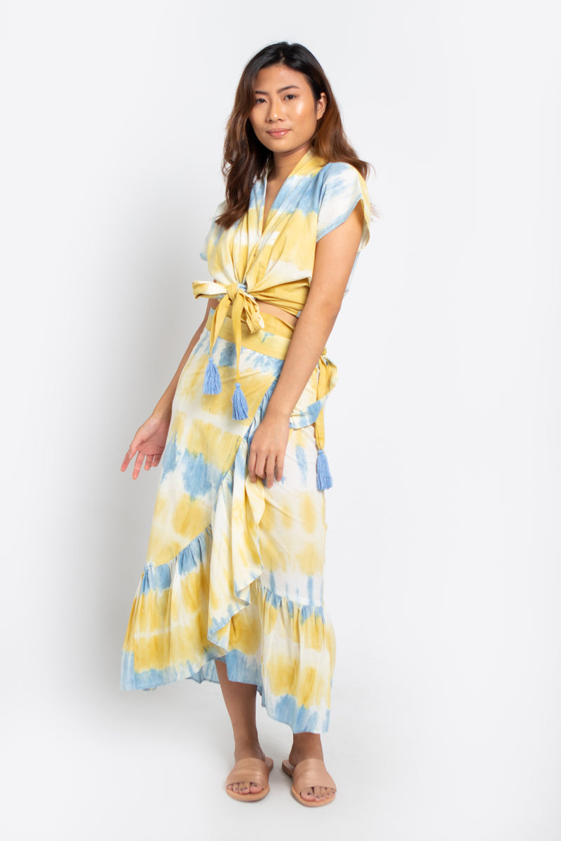 Lola Wrap Skirt Blue & Yellow Tie Dye