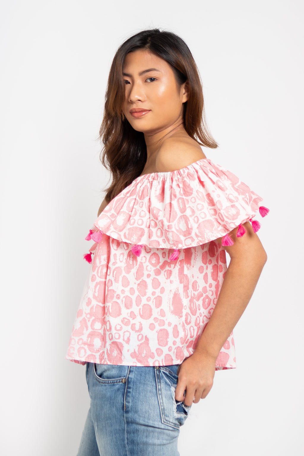 Havana Off Shoulders Top Pink Bubbles