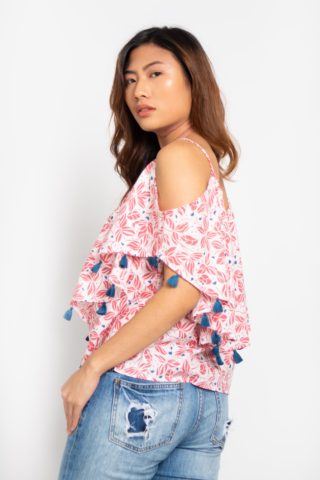 Butterfly Off Shoulders Top Pink Orchid