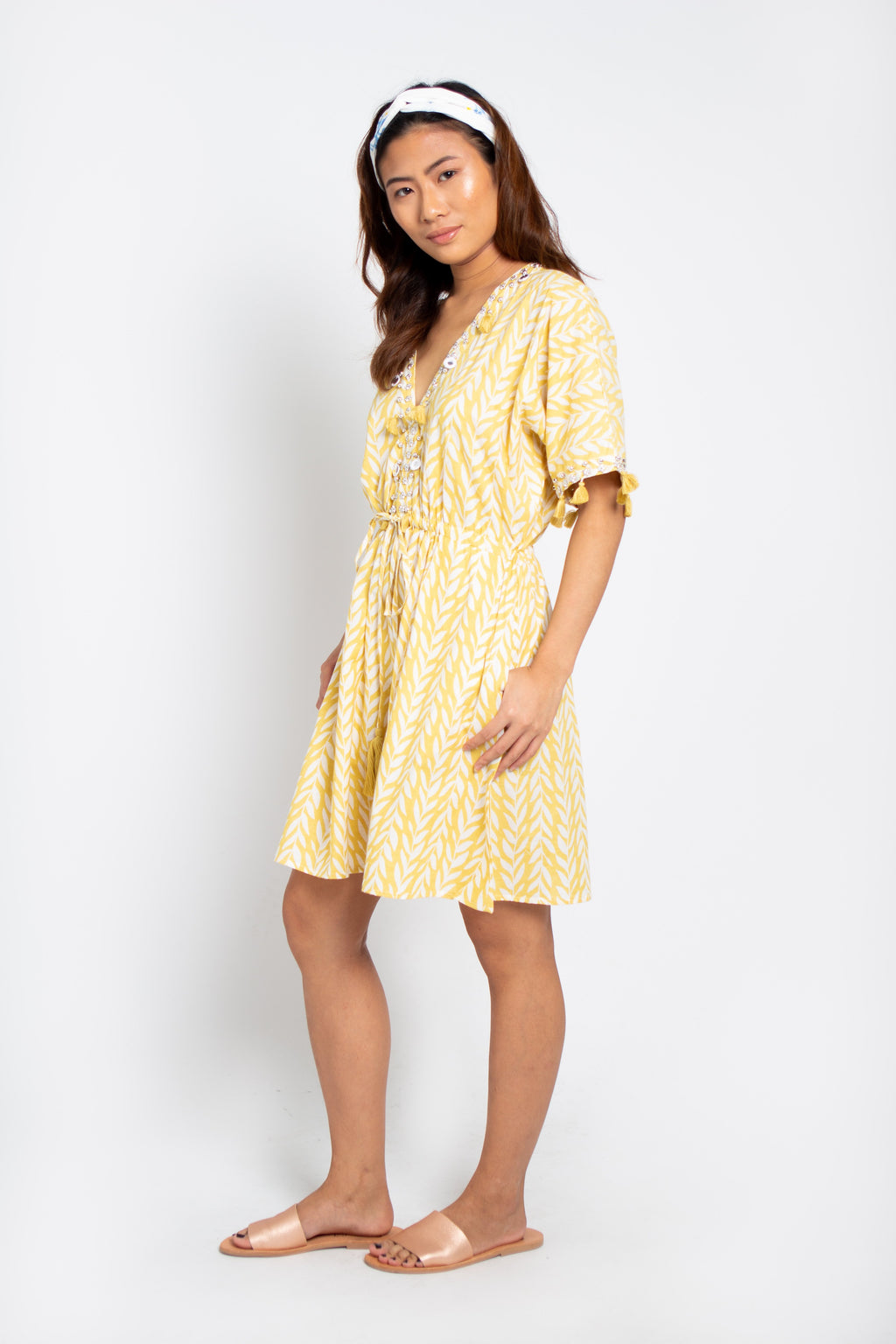 Shell Short Dress Yellow Wheat