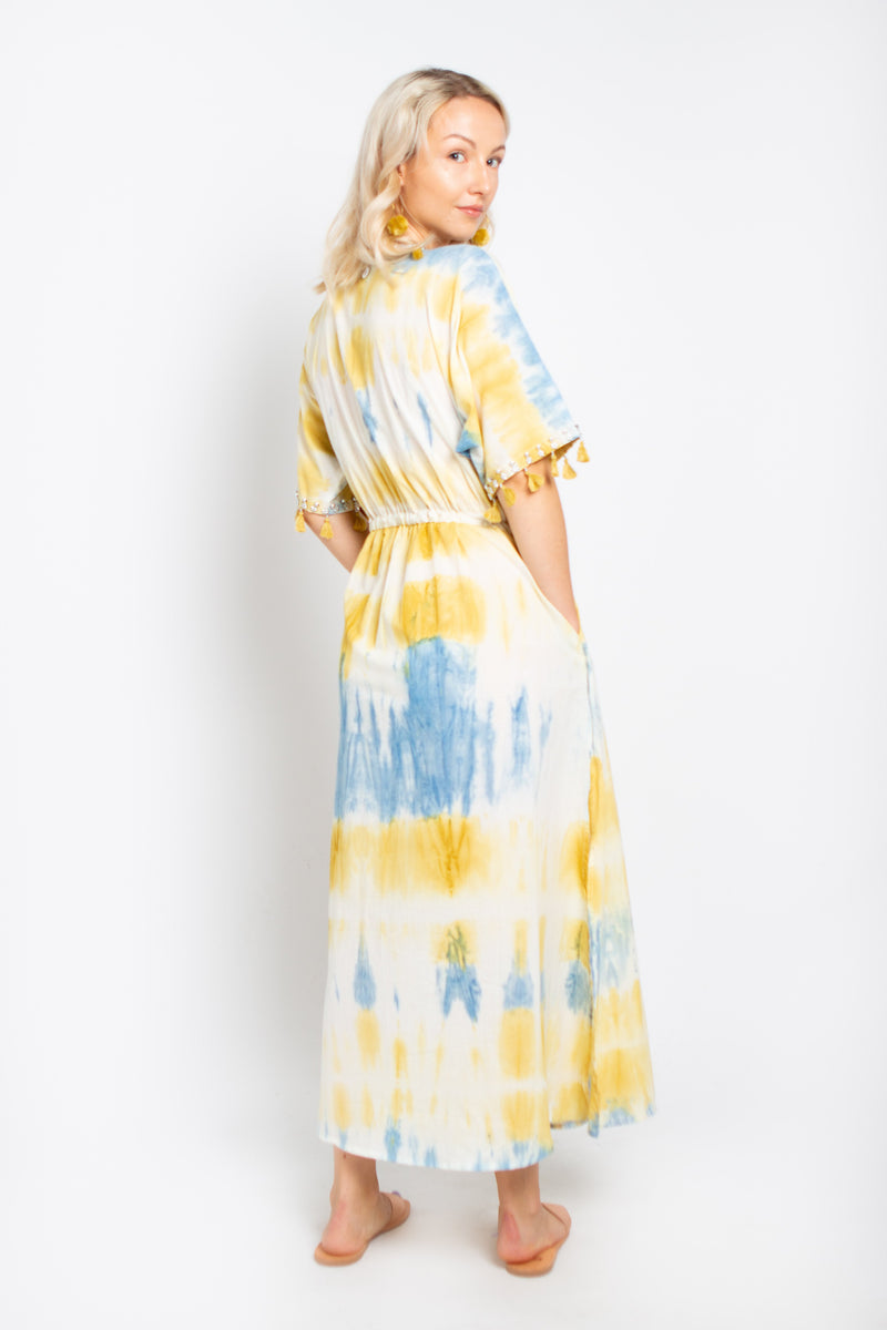 Shell Maxi Dress Blue and Yellow
