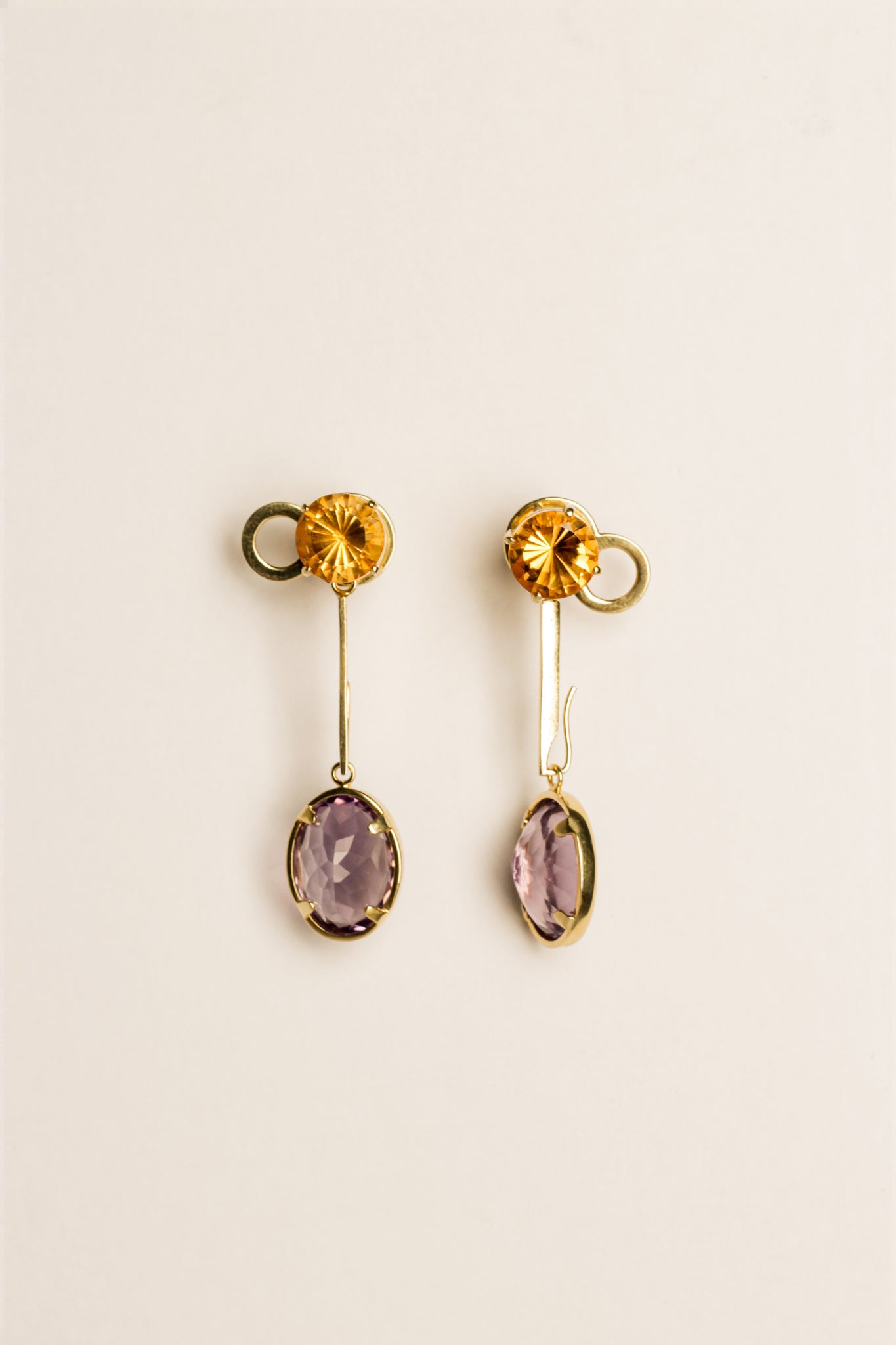 Citrine & Amethyst Detachable Earrings