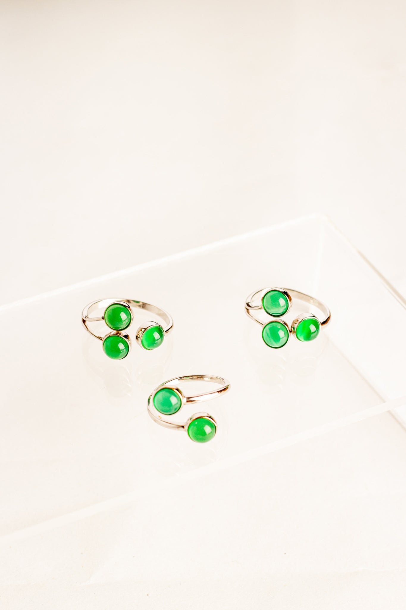 Green Agate Stacking Ring Set