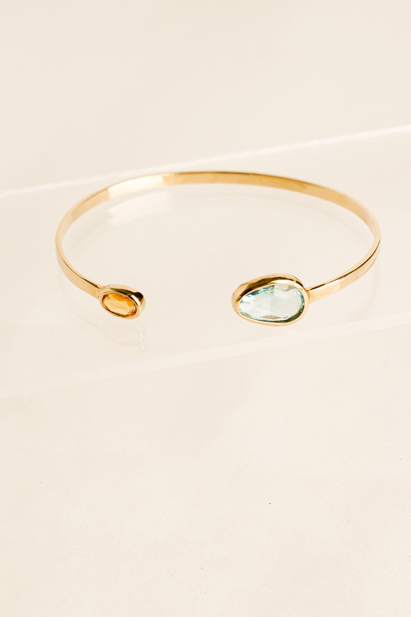 Rose-Cut Blue Topaz & Citrine Bangles